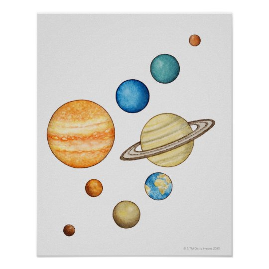 Illustration of the planets of the solar system poster