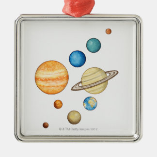 Illustration of the planets of the solar system Silver-Colored square decoration