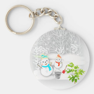 Illustration of the snowman is lovely the key hold basic round button key ring