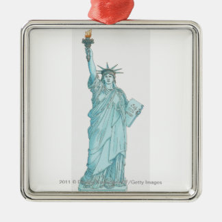 Illustration of the Statue of Liberty Silver-Colored Square Decoration