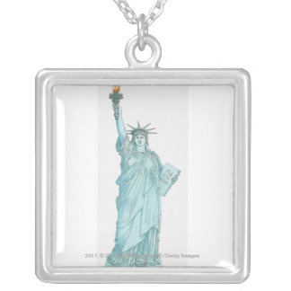 Illustration of the Statue of Liberty Silver Plated Necklace