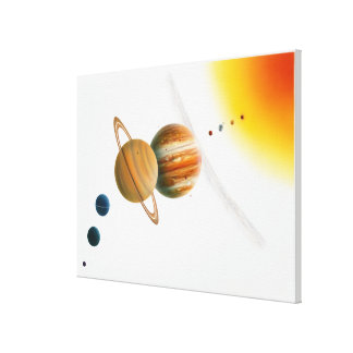 Illustration of the Sun, Mercury, Venus moon Canvas Print
