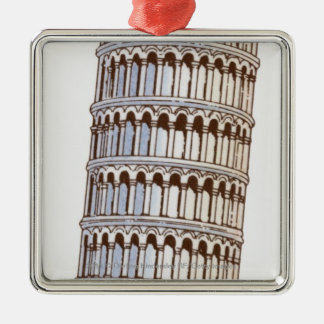 Illustration of the Tower of Pisa Christmas Ornament