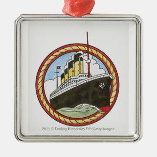 Illustration of Titanic Silver-Colored Square Decoration