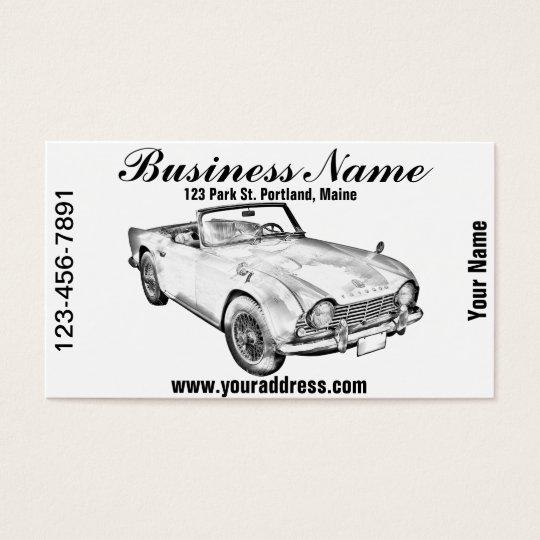 Illustration Of Triumph Tr4 Sports Car Business Card