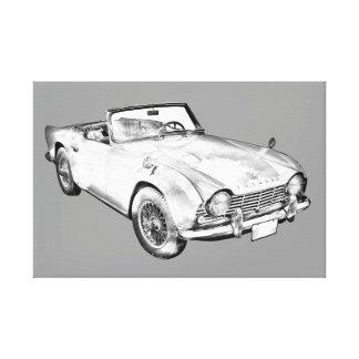 Illustration Of Triumph Tr4 Sports Car Canvas Print