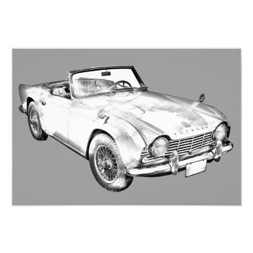 Illustration Of Triumph Tr4 Sports Car Photographic Print