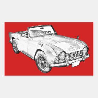 Illustration Of Triumph Tr4 Sports Car Rectangular Stickers