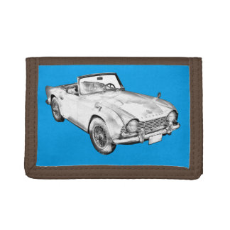 Illustration Of Triumph Tr4 Sports Car Tri-fold Wallets