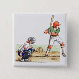 Illustration of two baseball players 15 cm square badge