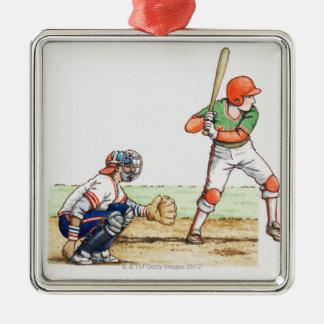Illustration of two baseball players christmas ornament