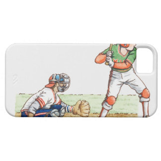 Illustration of two baseball players iPhone 5 case