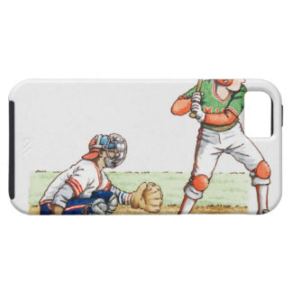 Illustration of two baseball players iPhone 5 covers