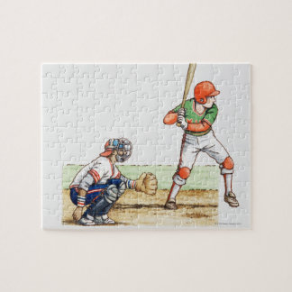 Illustration of two baseball players jigsaw puzzle