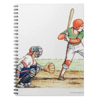 Illustration of two baseball players notebooks