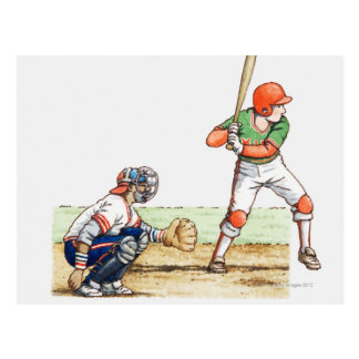 Illustration of two baseball players postcard