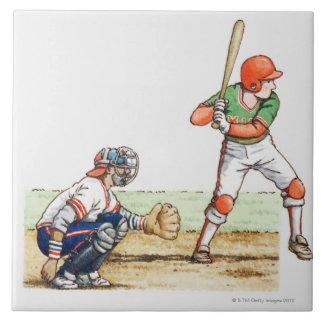 Illustration of two baseball players tile
