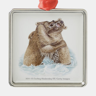 Illustration of two Brown Bears fighting in water Christmas Tree Ornament