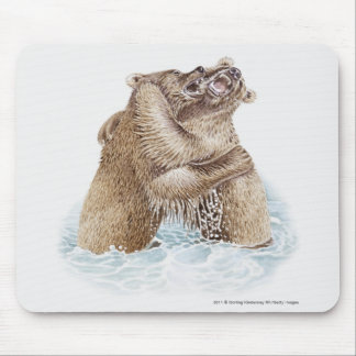 Illustration of two Brown Bears fighting in water Mouse Mat