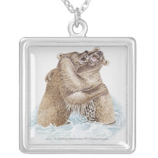 Illustration of two Brown Bears fighting in water Silver Plated Necklace