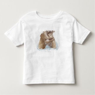 Illustration of two Brown Bears fighting in water Toddler T-Shirt