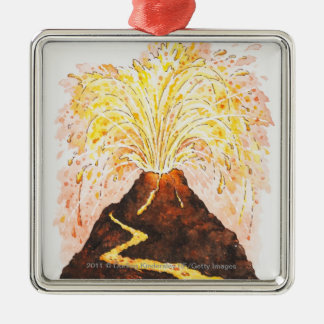 Illustration of volcano erupting christmas ornament