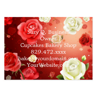 illustration of white and red roses pack of chubby business cards