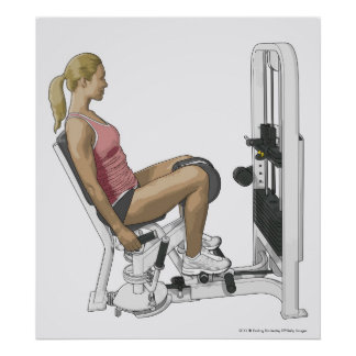Illustration of woman using hip abductor poster