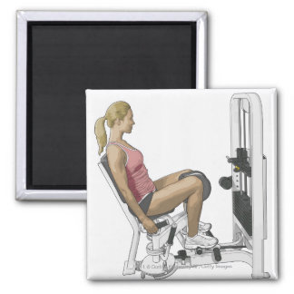 Illustration of woman using hip abductor square magnet