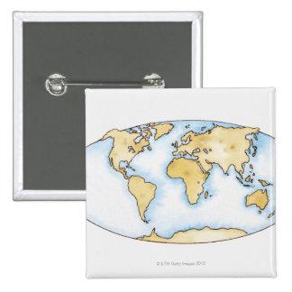 Illustration of world map 15 cm square badge