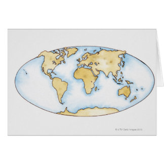 Illustration of world map greeting card