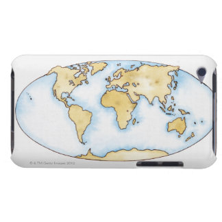 Illustration of world map iPod Case-Mate cases