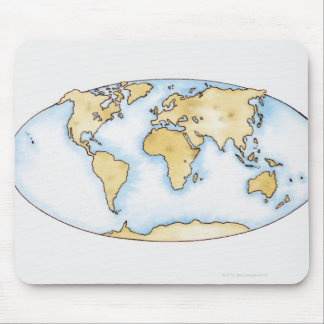 Illustration of world map mouse pad
