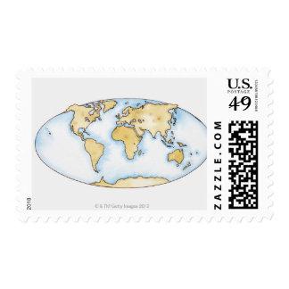 Illustration of world map postage stamp