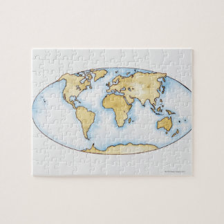 Illustration of world map puzzles