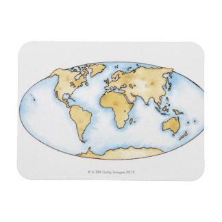 Illustration of world map rectangular photo magnet