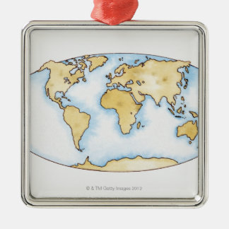 Illustration of world map Silver-Colored square decoration
