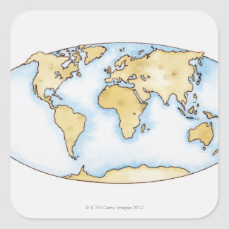 Illustration of world map square sticker
