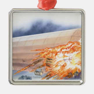 Illustration of Zeppelin bursting into flames Silver-Colored Square Decoration