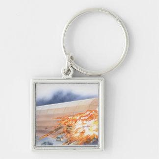 Illustration of Zeppelin bursting into flames Key Ring