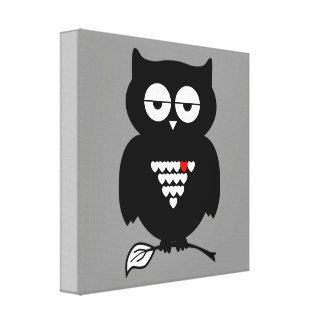 Illustration Owl Holding Twig Canvas Canvas Print