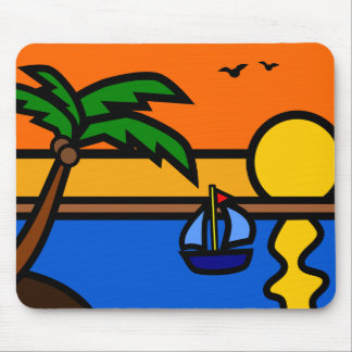 Illustration Scenic Beach with Sailboat Mouse Mat