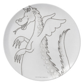 Illustration, smiling winged dragon with forked plates
