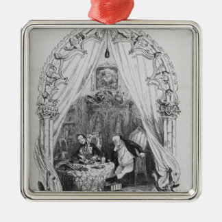 Illustration `The Pickwick Papers' by Charles Silver-Colored Square Decoration