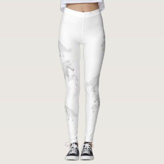 Illustration White Unicorn Leggings