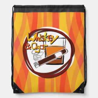 Illustration Wiskey and Cigar Drawstring Backpacks