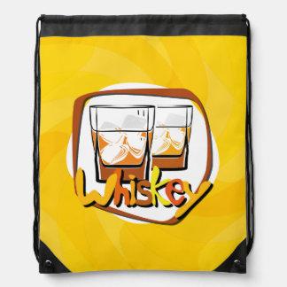 Illustration Wiskey on Ice Drawstring Bag