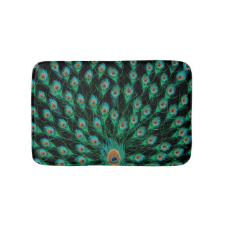 Illustration With Peacock Feathers on Black Bath Mat