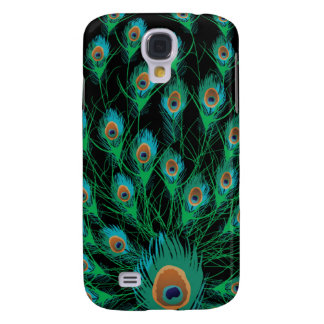 Illustration With Peacock Feathers on Black Galaxy S4 Case