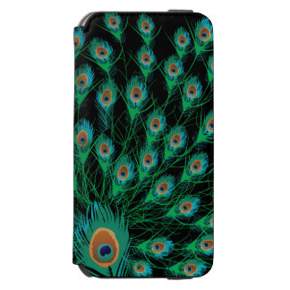 Illustration With Peacock Feathers on Black Incipio Watson™ iPhone 6 Wallet Case